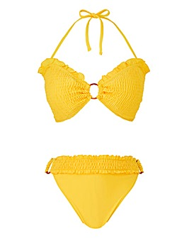Shirring Bandeau Bikini Set