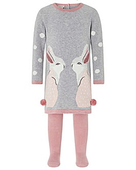 Monsoon Baby Molly Bunny Dress & Tights