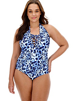Lace up Front Textured Animal Swimsuit