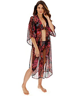 Wild Spice Chiffon Printed Maxi Kimono