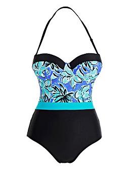 Print Panelled Bandeau Swimsuit