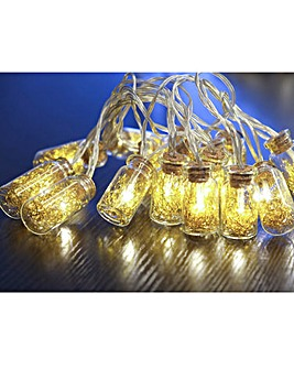 Glass Jar Light Chain with Gold Tinsel