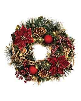 Pre Lit Red Poinsettia Wreath
