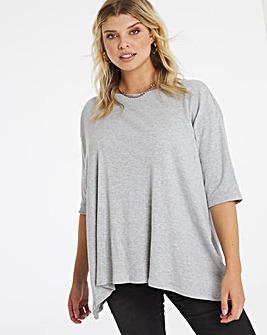 Grey Marl Rib Hanky Hem T Shirt