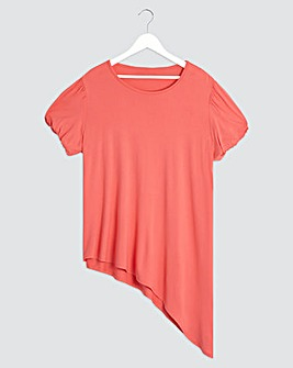 Coral Puff Sleeve Asymmetric Tunic