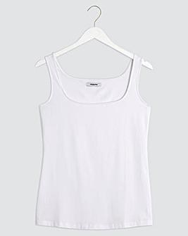 White Stretch Square Neck Vest