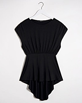 Black Dipped Back Tunic