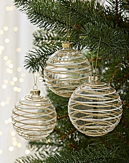 6 Gold and White Swirl Baubles