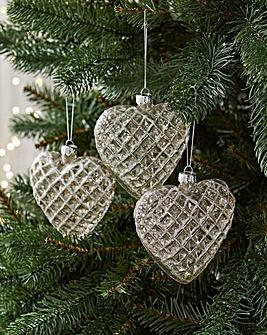 6 Diamond Cut Glass Hearts