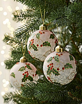 6 Holly Design Baubles