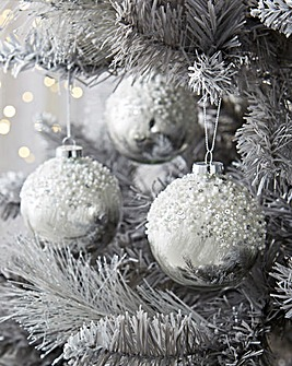 6 Silver/White Glitter Glass Baubles