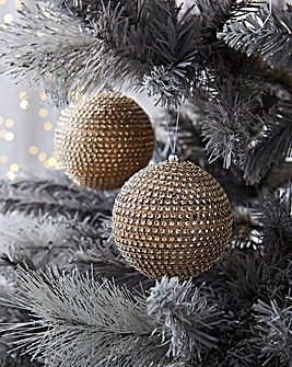 4 Pack Gold Diamante Baubles