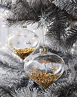 4 Onion Baubles with Gold Star Design