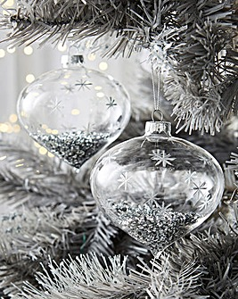 4 Onion Baubles with Silver Star Design