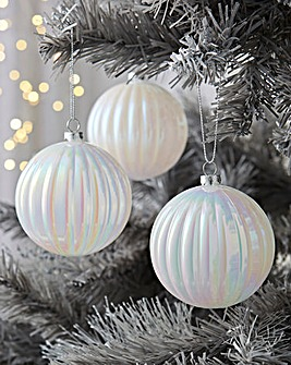 12 White Iridescent Baubles
