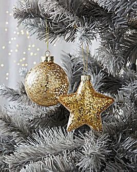 12 Assorted Star & Ball Gold Glitter Baubles
