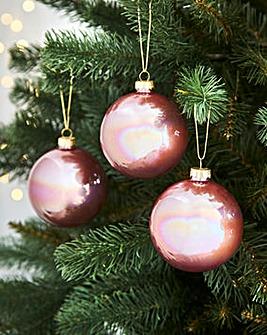 6 Pink Iridescent Glass Baubles