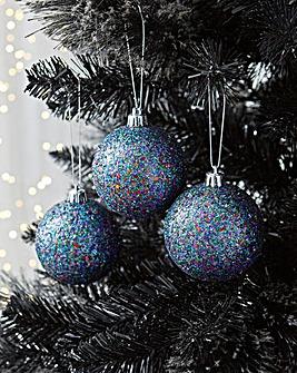 6 Blue Glitter baubles