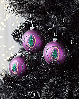 6 Purple Peacock Baubles