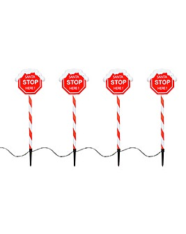 Set of 4 Santa Stop Stake Lights