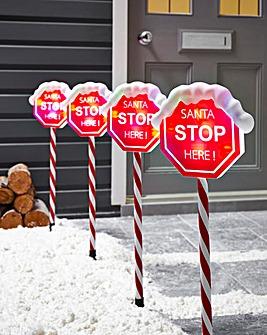 Set of 4 Santa Stop Stake Lights
