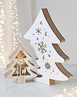 Wooden Lit Double Tree Decoration
