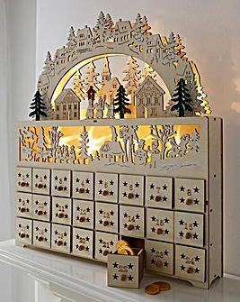 Lit Wooden Christmas Countdown
