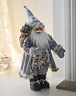 Grey Standing Santa With Sack