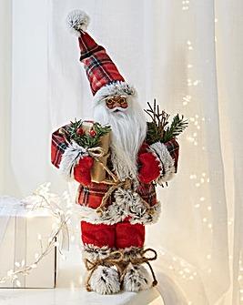 Red Tartan Standing Santa