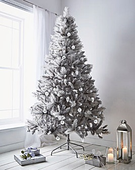 8ft Grey Glitter Tipped Tree