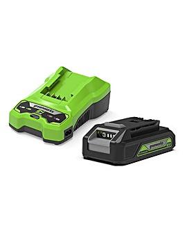 Greenworks 24V 2Ah Battery & Charger