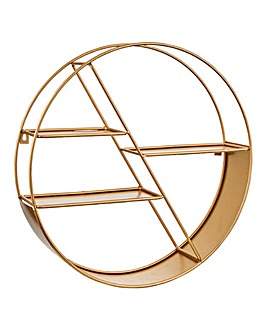 Gold Circular Wall Mounted Shelf