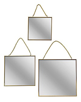 Set of 3 Gold Square Mirrors