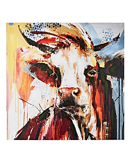 Handpainted Cow Design Canvas