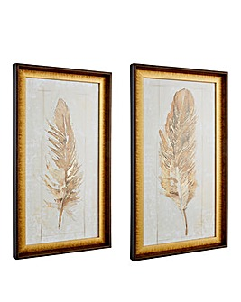 Set of 2 Autumn Feather Framed Prints