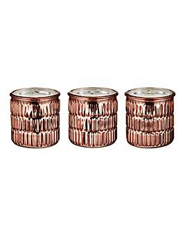 Set of 3 Rose Gold Candle & Holder
