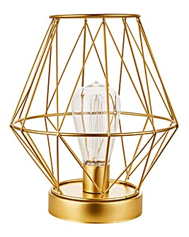 Gold Geo Lantern with LED Bulb