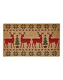 Festive Deer Coir Doormat