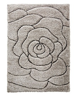 Floral Carved Shaggy Rug Large