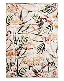 Crushed Velvet Botanical Printed Rug