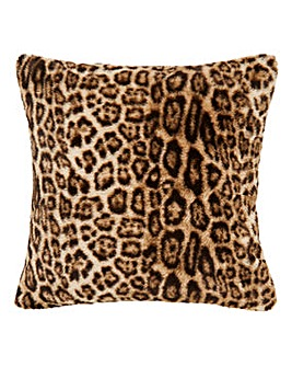 Faux Fur Leopard Print Cushion