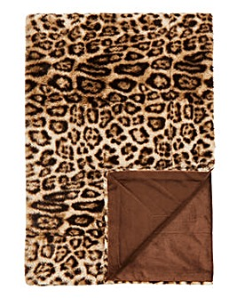 Faux Fur Leopard Print Throw
