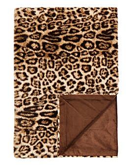 Faux Fur Leopard Print Throw