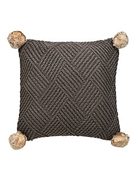 Chunky Pom Pom Knit Cushion