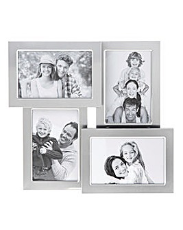 Satin Silver Collage Frame 4 Pictures