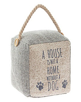 Square Rope Doorstop with Dog Quote
