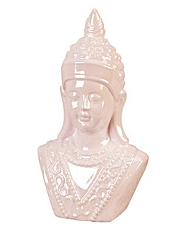 Pink Pearl Finish Ceramic Buddha