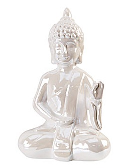 Pearl Finish Ceramic Sitting Buddha