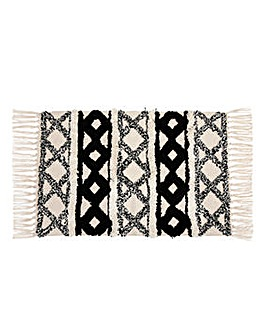 Scandi Boho Cotton White Tassel Mat