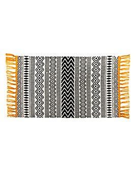Scandi Boho Cotton Yellow Tassel Mat